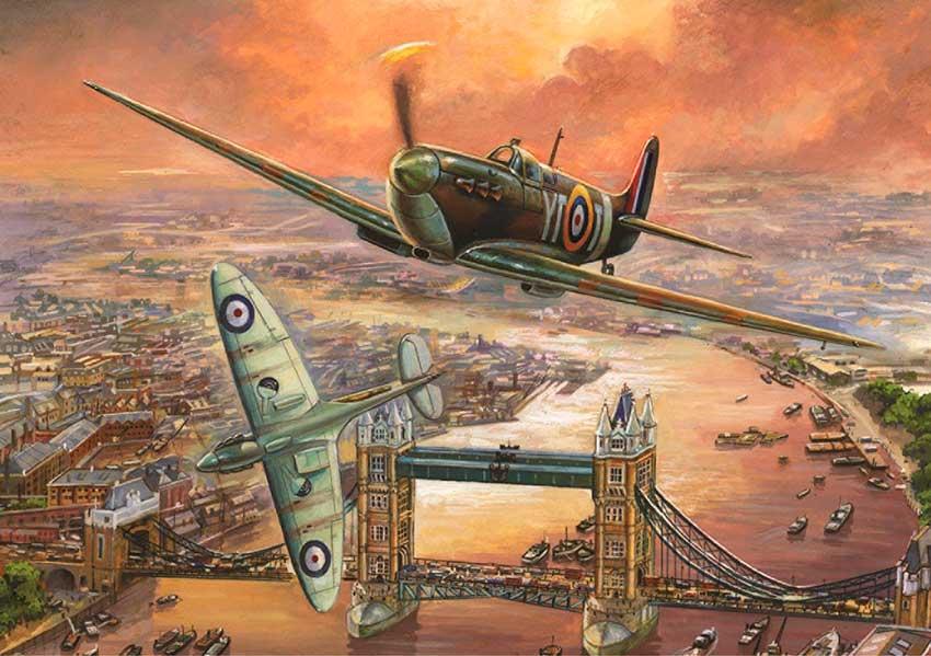 Puzzles Falcon Spitfire sobre Londres de 1000 Piezas