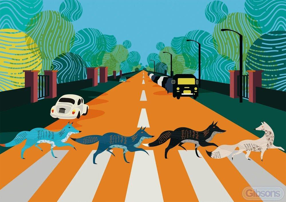 Puzzle Gibsons Abbey Road Foxes de 500 Piezas