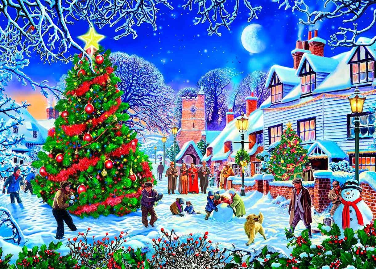 Puzzle Gibsons Árbol de Navidad del Pueblo de 500 Piezas XXL