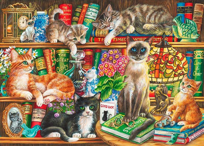 Puzzle Gibsons Biblioteca de Gatos de 1000 Piezas