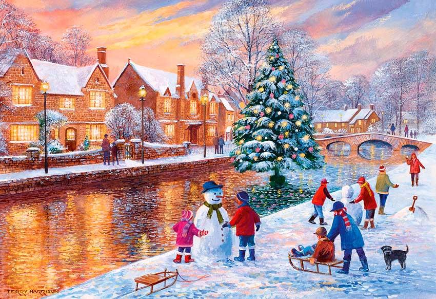 Puzzle Gibsons Bourton en Navidad de 500 Piezas
