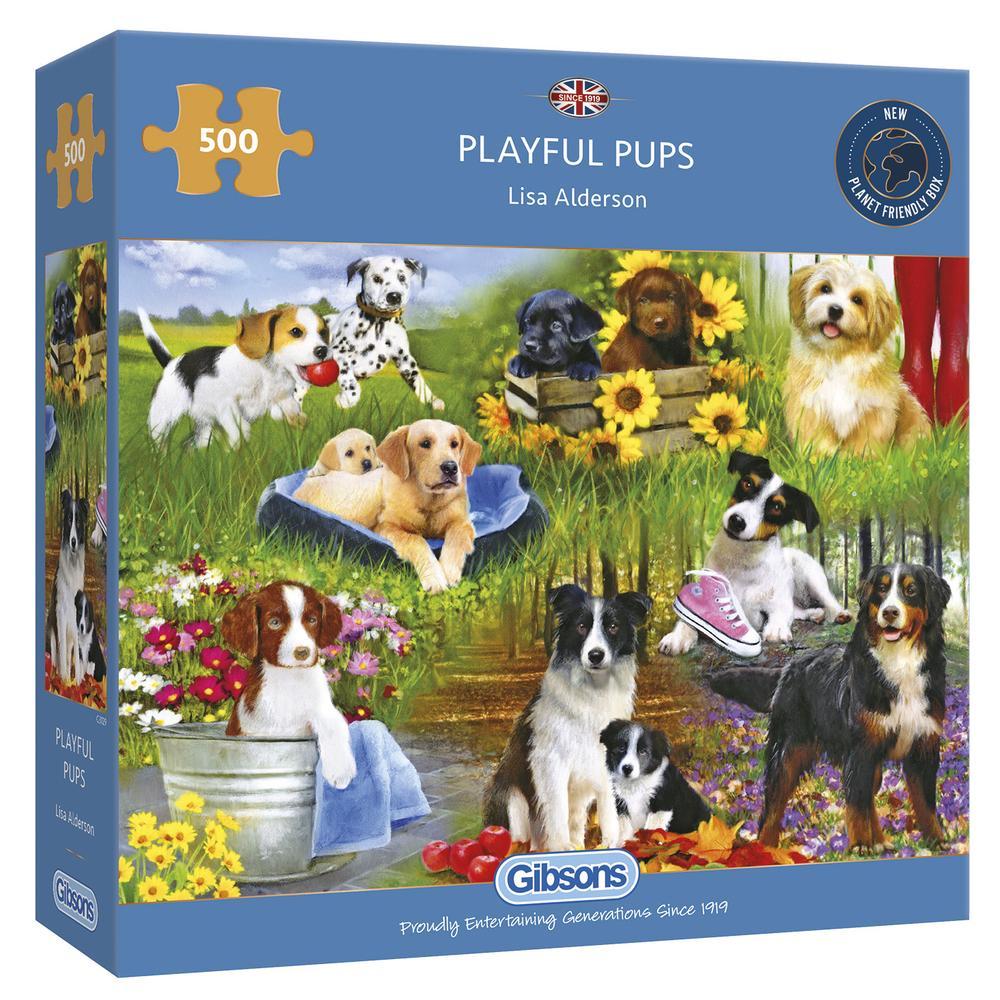 Puzzle Gibsons Cachorros Juguetones de 500 Piezas
