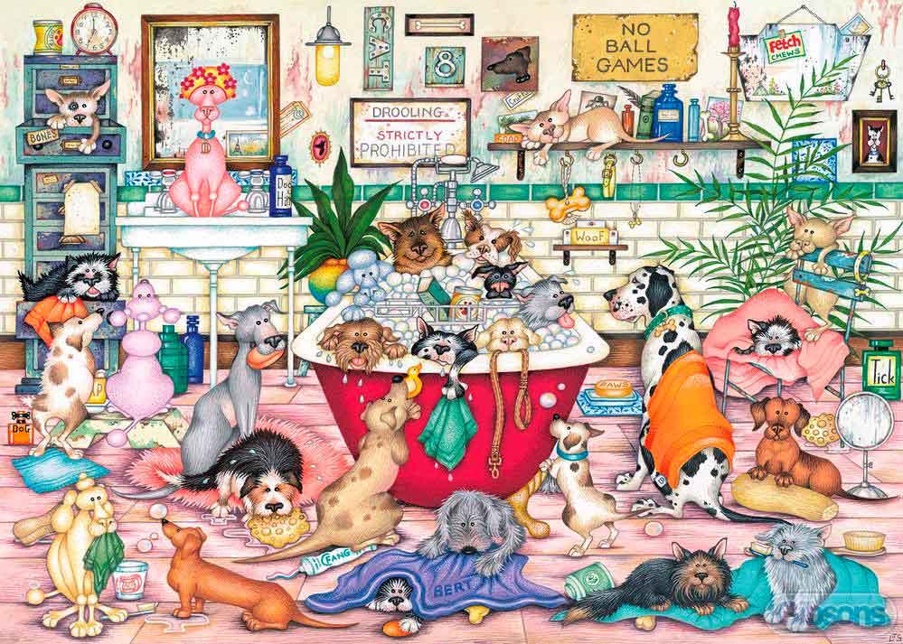 Puzzle Gibsons El Baño de las Mascotas de 1000 Piezas