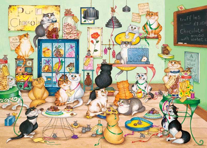 Puzzle Gibsons La Chocolatería de Gatos de 1000 Piezas