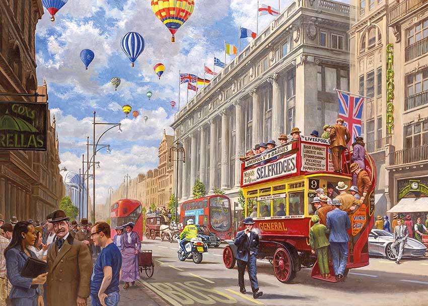 Puzzle Gibsons Oxford Street , Antes y Ahora  de 1000 Piezas