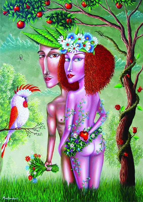 Puzzle Gold Adam y Eva de 1000 Piezas