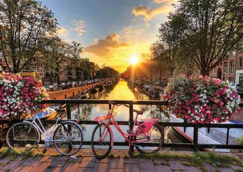 Puzzle Gold Bicicletas en los Canales de Amsterdam de 1000 Pieza