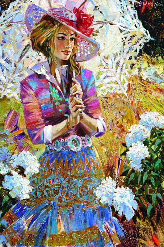 Puzzle Gold Chica con Paraguas Abierto de 1000 Piezas