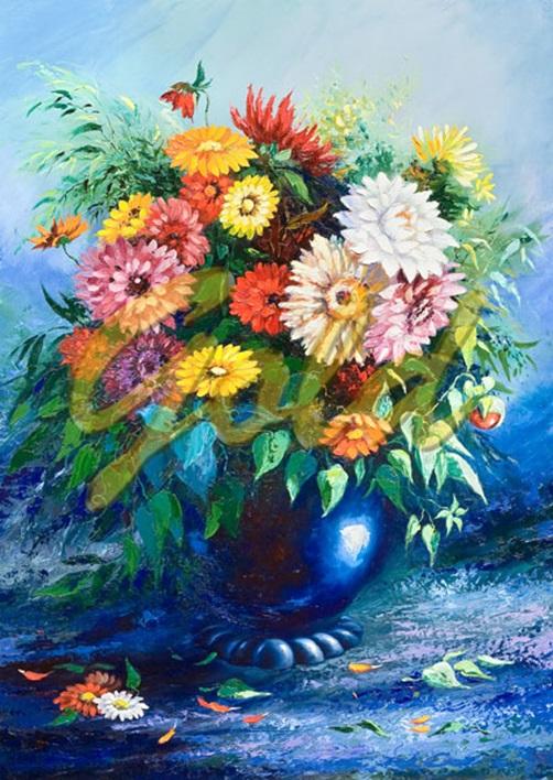 Puzzle Gold Flores en Jarrón Azul de 500 Piezas