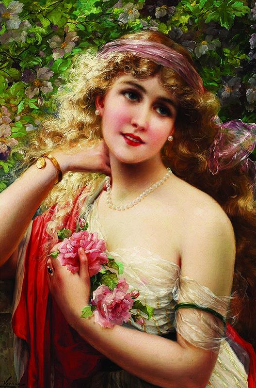 Puzzle Gold Joven Dama con Rosas de 1000 Piezas