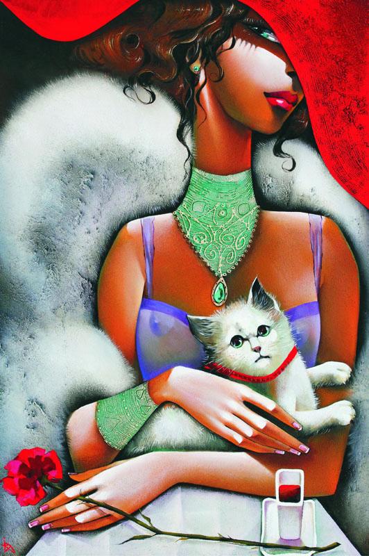 Puzzle Gold Mujer con Gato de 1000 Piezas