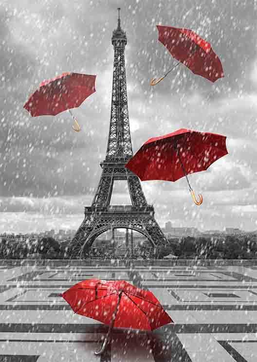 Puzzle Gold Paraguas Volando en la Torre Eiffel 1000 Piezas