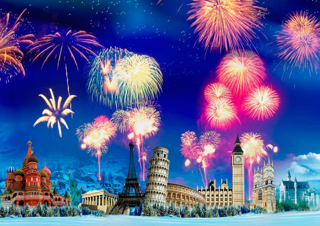 Puzzle Grafika Año Nuevo Alrededor del Mundo de 2000 Piezas