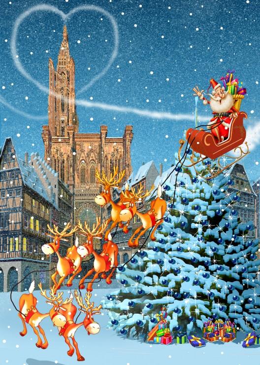 Puzzle Grafika Catedral de Estrasburgo en Navidad de 500 Piezas