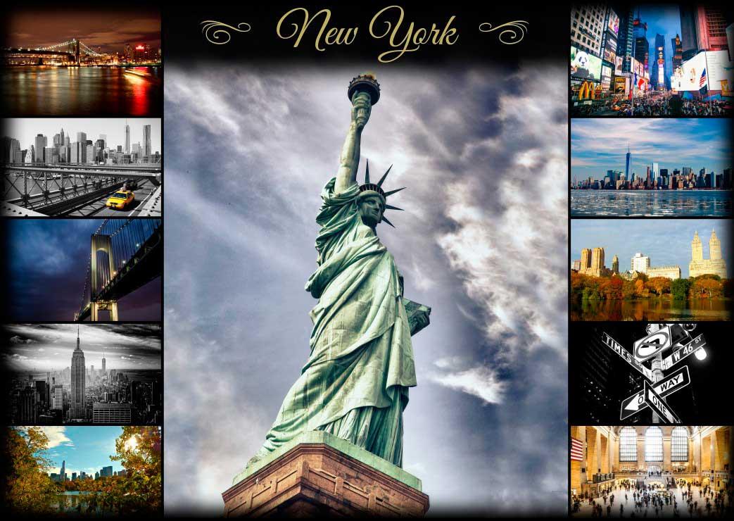 Puzzle Grafika Collage de Nueva York de 1000 Piezas