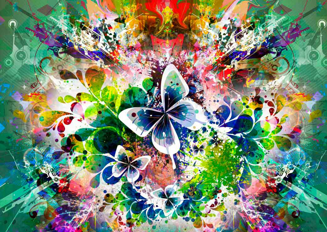 Puzzle Grafika Flores de Primavera y Mariposas de 1000 Piezas