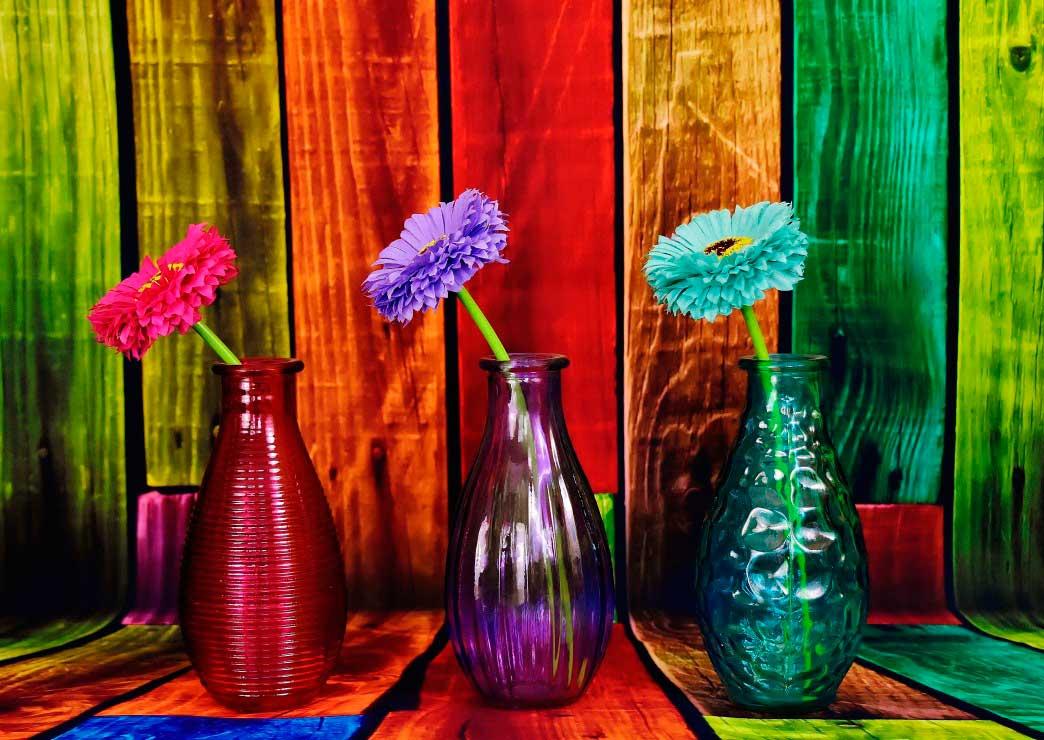 Puzzle Grafika Flores en Jarrones Coloridos de 1000 Piezas