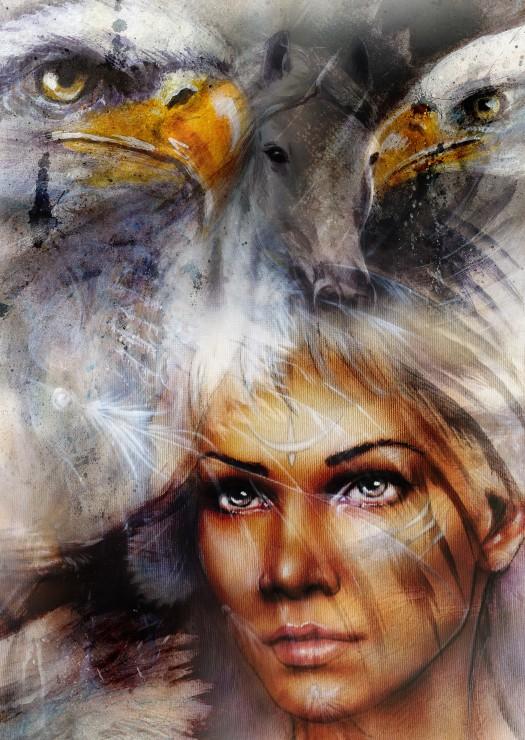 Puzzle Grafika Mujer, Águila y Caballo de 1000 Piezas