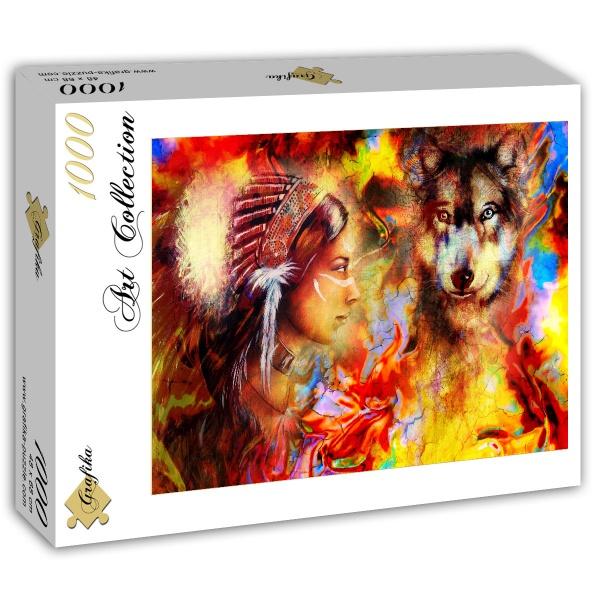 Puzzle Grafika Mujer India y el Lobo de 1000 Piezas