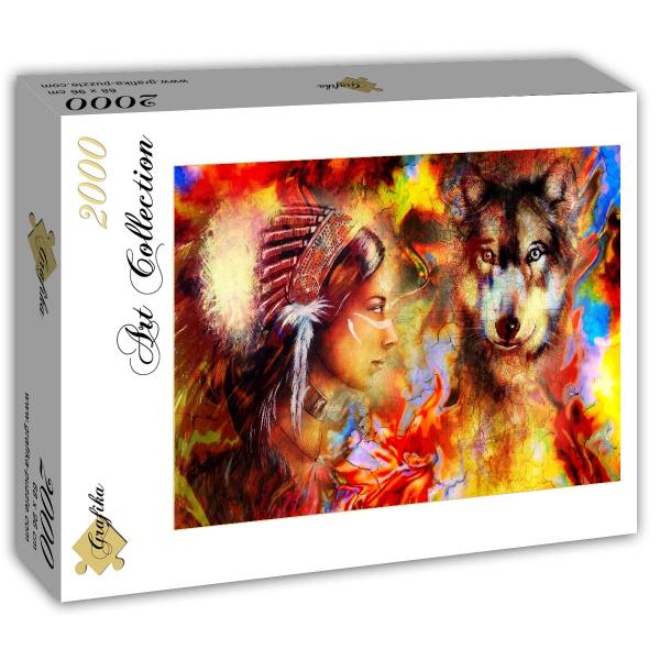 Puzzle Grafika Mujer India y el Lobo de 2000 Piezas
