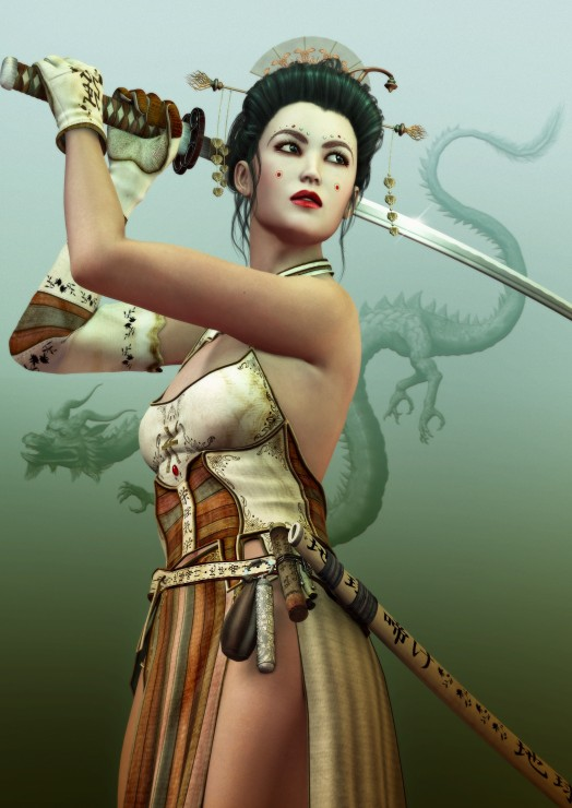 Puzzle Grafika Mujer Samurai  de 1000 Piezas
