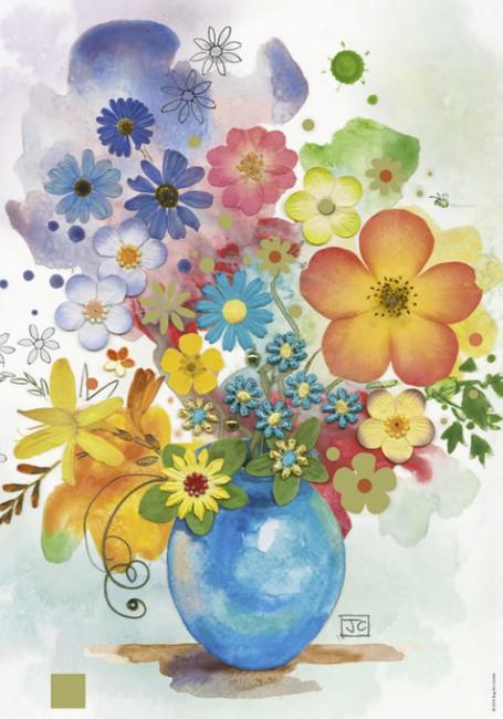 Puzzle Heye Acuarela de Jarrón de Flores de 500 Piezas
