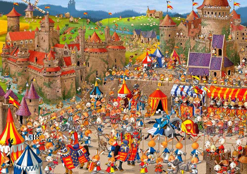 Puzzle Heye Batallas de Conejos, Caja Triangular de 1000 Piezas