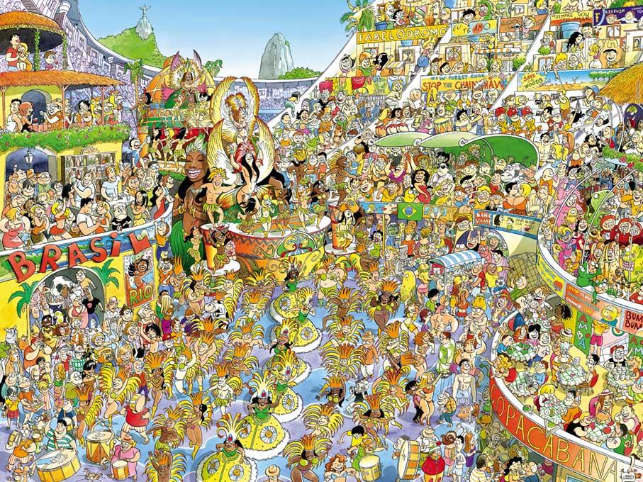 Puzzle Heye Carnaval de Rio, Caja Triangular de 1500 Piezas