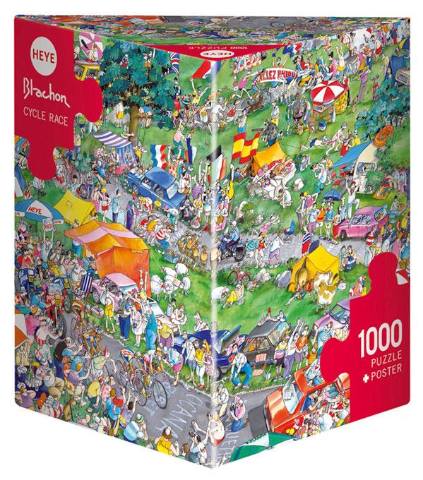 Puzzle Heye Carrera de Bicicletas, Caja Triangular de 1000 Pieza