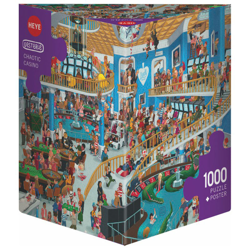Puzzle Heye Casino Caótico, Caja Triangular de 1000 Pzs