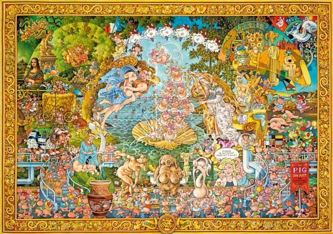 Puzzle Heye Cerditos en el Arte de 4000 Piezas