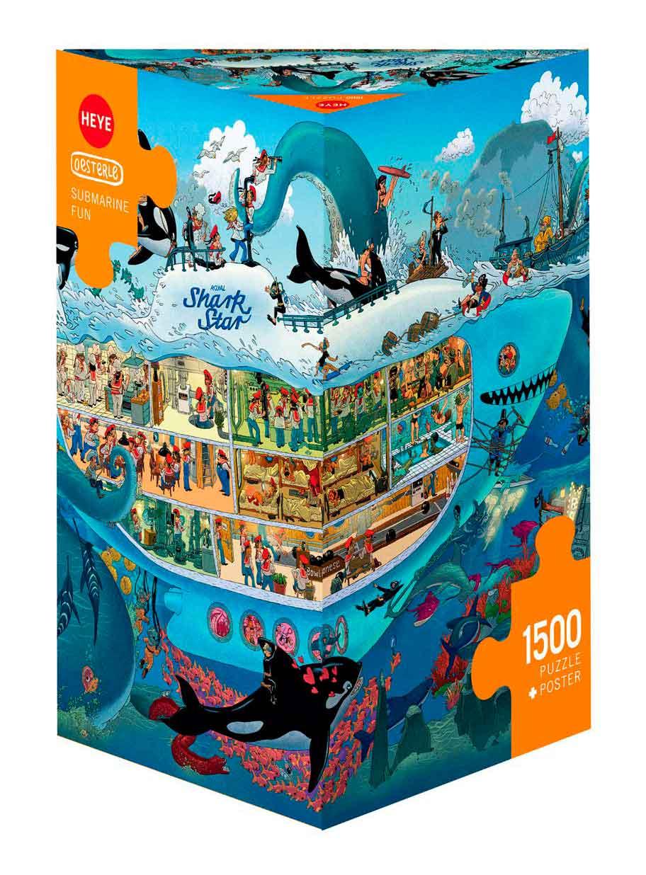 Puzzle Heye Diversión Submarina, Caja Triangular de 1500 Piezas