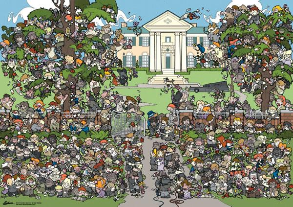 Puzzle Heye Donde Está Elvis?. Graceland de 1000 Piezas