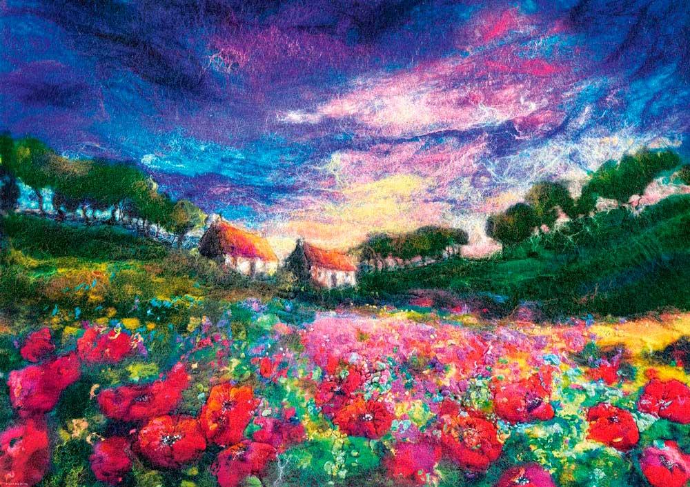 Puzzle Heye Felted Art, Amapolas en la Puesta de Sol de 1000 Pzs