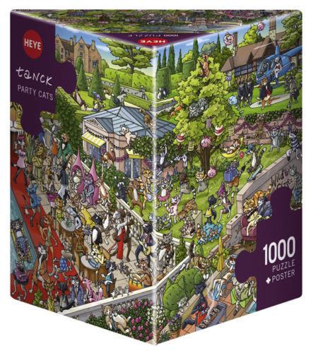 Puzzle Heye Fiesta de Gatos, Caja Triangular de 1000 Piezas
