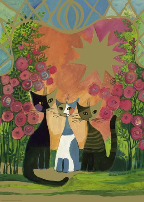 Puzzle Heye Gatos en el Jardín de Rosas de 2000 Piezas