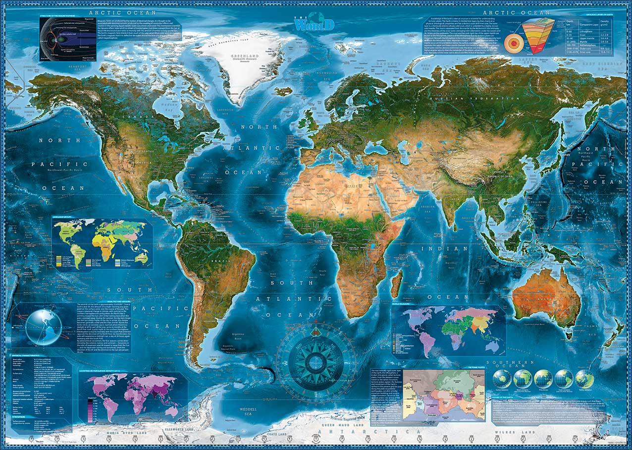 Puzzle Heye Imagen Satélite del Mundo de 2000 Piezas