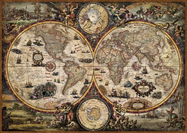 Puzzle Heye Mapa del Mundo, Vintage de 2000 Piezas