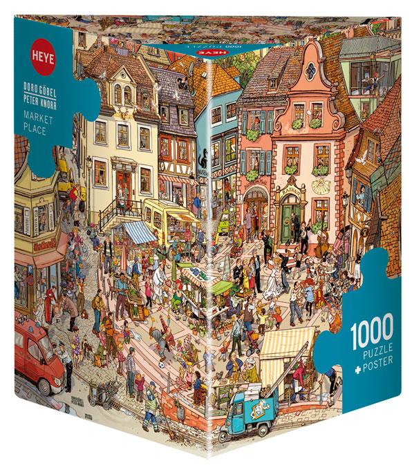 Puzzle Heye Plaza del Mercado, Caja Triangular de 1000 Piezas