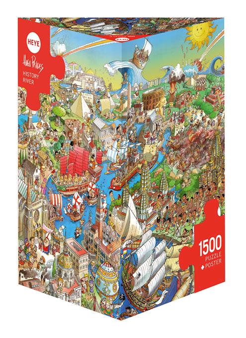 Puzzle Heye Río de la Historia, Caja Triangular de 1500 Piezas