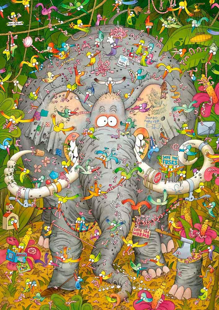 Puzzle Heye Vida de Elefante, Caja Triangular de 1000 Pzs