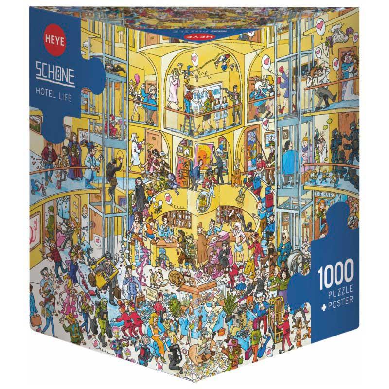 Puzzle Heye Vida en el Hotel, Caja Triangular de 1000 Pzs