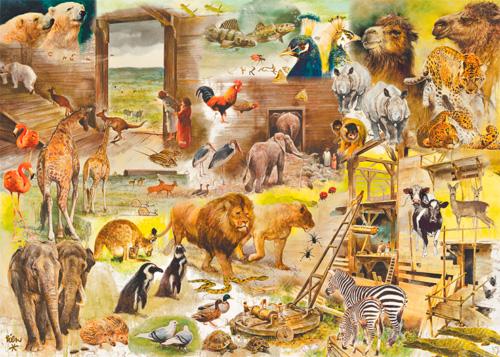 Puzzle Jumbo Construyendo el Arca de Noé de 1000 Piezas
