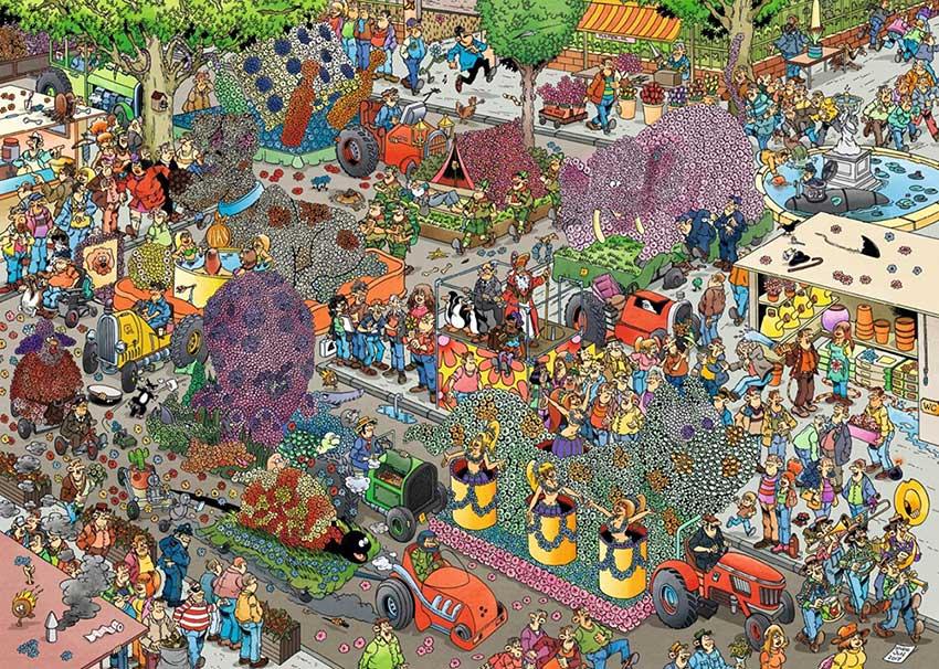 Puzzle Jumbo El Desfile de Flores de 1000 Piezas