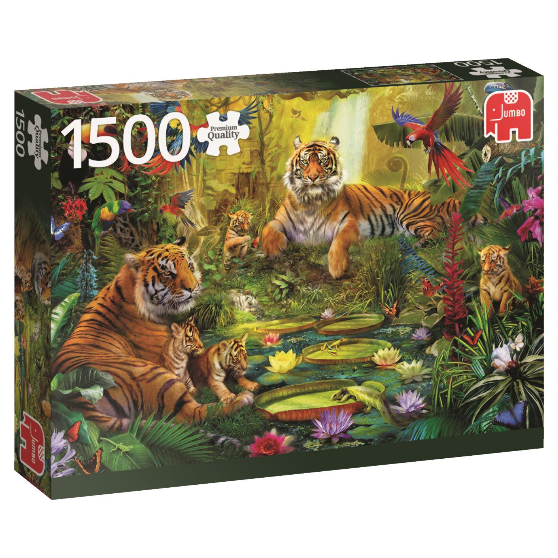 Puzzle Jumbo Familia de tigres en la Jungla, 1500 Pzs
