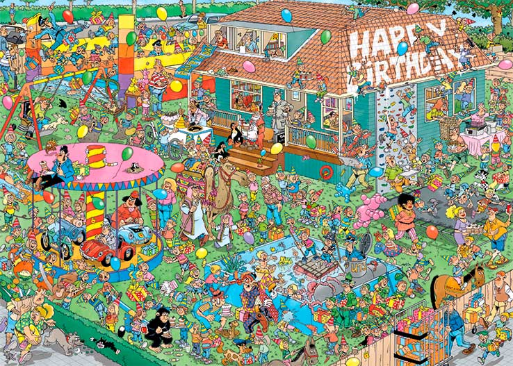 Puzzle Jumbo Fiesta de Cumpleaños Infantil de 1000 Piezas