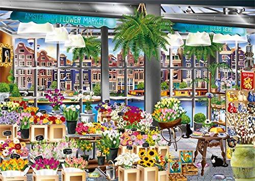 Puzzle Jumbo La Tienda de Flores de Amsterdam de 1000 Piezas