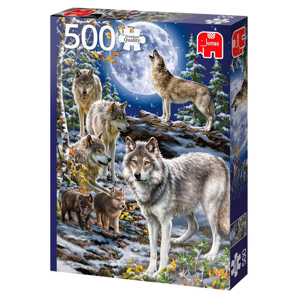 Puzzle Jumbo Manada de Lobos en Invierno de 500 Piezas