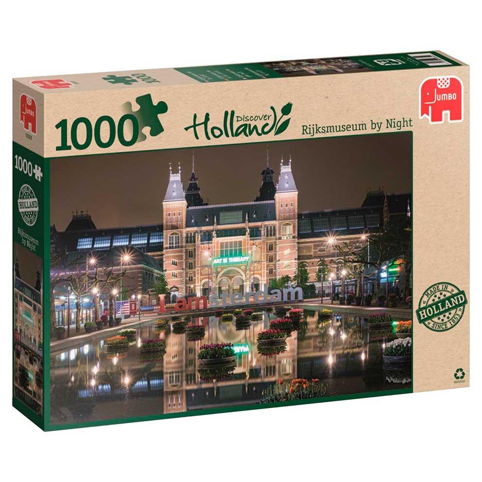 Puzzle Jumbo Museo Rijks de Noche, Amsterdam de 1000 Piezas