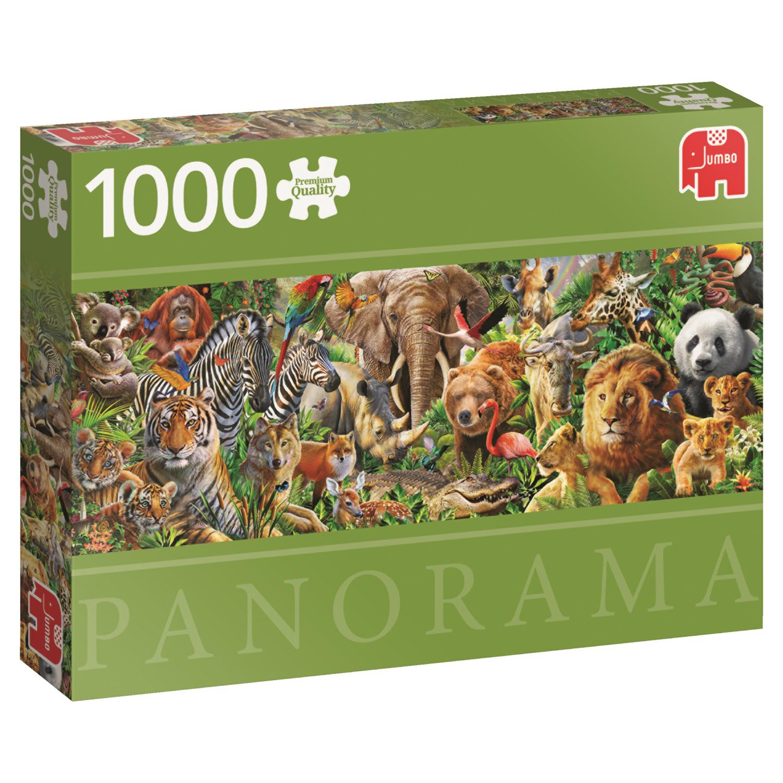 Puzzle Jumbo Panorámica Flora y fauna africana de 1000 Piezas
